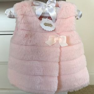 NWT! Mud Pie Pink Faux Fur Vest